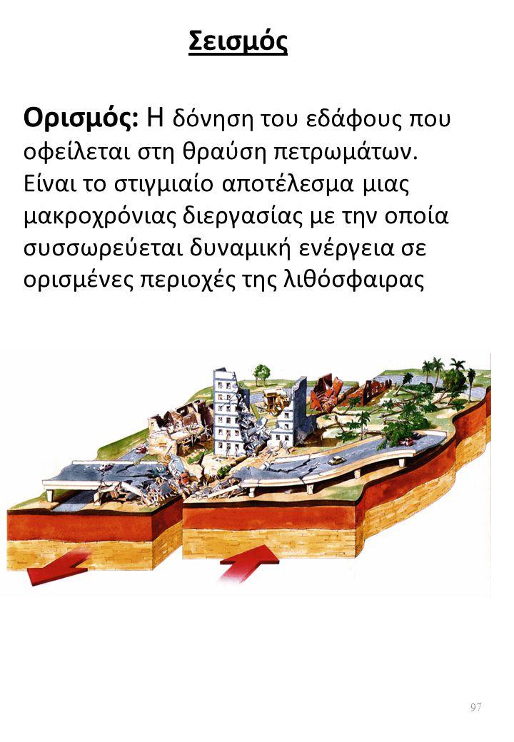 Σεισμός Ορισμός: Η δόνηση του εδάφους που οφείλεται στη θραύση πετρωμάτων.