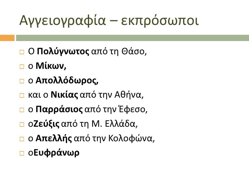 Αγγειογραφία – εκπρόσωποι  Ο Πολύγνωτος από τη Θάσο,  ο Μίκων,  ο Απολλόδωρος,  και ο Νικίας από την Αθήνα,  ο Παρράσιος από την Έφεσο,  οΖεύξις