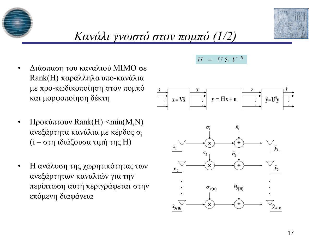 17 Κανάλι γνωστό στον πομπό (1/2) Διάσπαση του καναλιού MIMO σε Rank(H) παράλληλα υπο-κανάλια με προ-κωδικοποίηση στον πομπό και μορφοποίηση δέκτη Προ