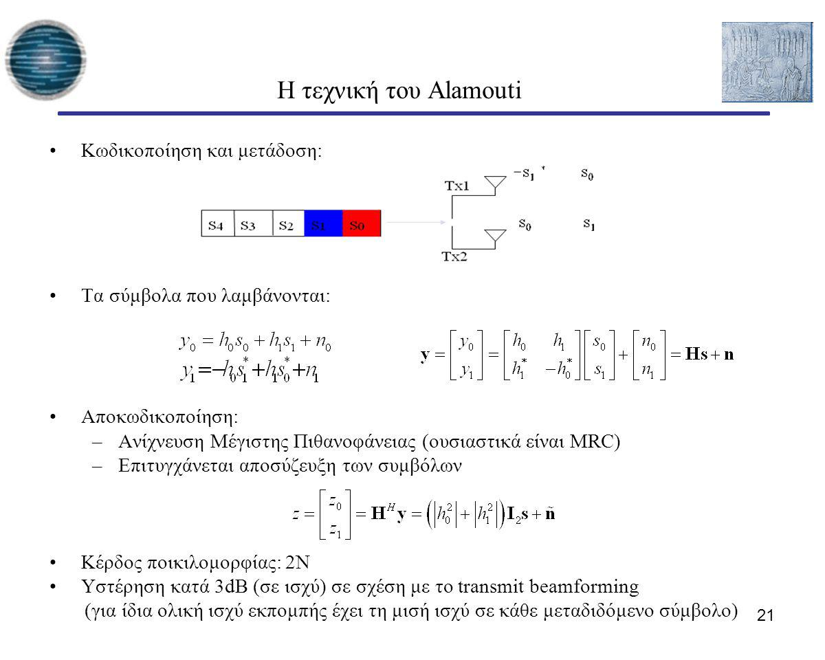 21 Η τεχνική του Alamouti Κωδικοποίηση και μετάδοση: Τα σύμβολα που λαμβάνονται: Αποκωδικοποίηση: –Ανίχνευση Μέγιστης Πιθανοφάνειας (ουσιαστικά είναι