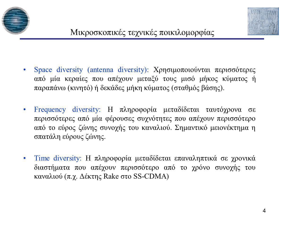 15 Συστήματα ΜΙΜΟ Τα συστήματα MIMO έχουν πολλαπλές κεραίες σε πομπό και δέκτη Οι κεραίες μπορούν να χρησιμοποιηθούν για κέρδος πολυπλεξίας ή/και κέρδος ποικιλομορφίας Ο σχεδιασμός των συστημάτων ΜΙΜΟ μπορεί να είναι πολύπλοκος αφού απαιτεί διανυσματική επεξεργασία σήματος Η απόδοση και η πολυπλοκότητα ενός συστήματος ΜΙΜΟ εξαρτάται από το τι είναι γνωστό για το κανάλι σε πομπό και σε δέκτη
