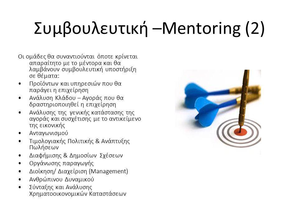 Συμβουλευτική –Mentoring (2) Οι ομάδες θα συναντιούνται όποτε κρίνεται απαραίτητο με το μέντορα και θα λαμβάνουν συμβουλευτική υποστήριξη σε θέματα: Προϊόντων και υπηρεσιών που θα παράγει η επιχείρηση Ανάλυση Κλάδου – Αγοράς που θα δραστηριοποιηθεί η επιχείρηση Ανάλυσης της γενικής κατάστασης της αγοράς και συσχέτισης με το αντικείμενο της εικονικής Ανταγωνισμού Τιμολογιακής Πολιτικής & Ανάπτυξης Πωλήσεων Διαφήμισης & Δημοσίων Σχέσεων Οργάνωσης παραγωγής Διοίκηση/ Διαχείριση (Management) Ανθρώπινου Δυναμικού Σύνταξης και Ανάλυσης Χρηματοοικονομικών Καταστάσεων