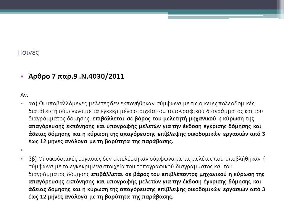Ποινές Άρθρο 7 παρ.9.Ν.4030/2011 Αν: αα) Οι υποβαλλόμενες μελέτες δεν εκπονήθηκαν σύμφωνα με τις οικείες πολεοδομικές διατάξεις ή σύμφωνα με τα εγκεκριμένα στοιχεία του τοπογραφικού διαγράμματος και του διαγράμματος δόμησης, επιβάλλεται σε βάρος του μελετητή μηχανικού η κύρωση της απαγόρευσης εκπόνησης και υπογραφής μελετών για την έκδοση έγκρισης δόμησης και άδειας δόμησης και η κύρωση της απαγόρευσης επίβλεψης οικοδομικών εργασιών από 3 έως 12 μήνες ανάλογα με τη βαρύτητα της παράβασης.