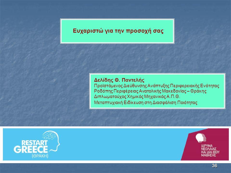 36 Δελίδης Θ. Παντελής Προϊστάμενος Διεύθυνσης Ανάπτυξης Περιφερειακής Ενότητας Ροδόπης Περιφέρειας Ανατολικής Μακεδονίας – Θράκης Διπλωματούχος Χημικ