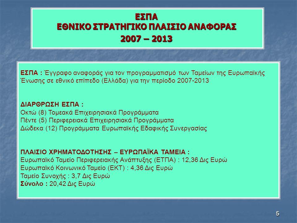 5 ΕΣΠΑ ΕΘΝΙΚΟ ΣΤΡΑΤΗΓΙΚΟ ΠΛΑΙΣΙΟ ΑΝΑΦΟΡΑΣ 2007 – 2013 ΕΣΠΑ : Έγγραφο αναφοράς για τον προγραμματισμό των Ταμείων της Ευρωπαϊκής Ένωσης σε εθνικό επίπε
