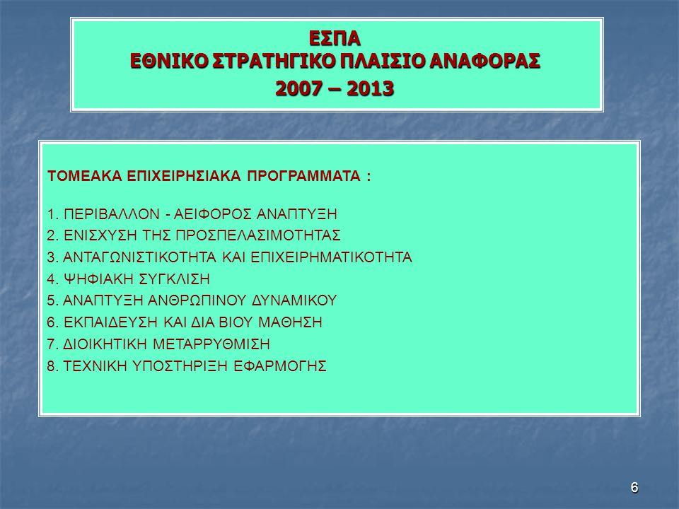 6 ΕΣΠΑ ΕΘΝΙΚΟ ΣΤΡΑΤΗΓΙΚΟ ΠΛΑΙΣΙΟ ΑΝΑΦΟΡΑΣ 2007 – 2013 ΤΟΜΕΑΚΑ ΕΠΙΧΕΙΡΗΣΙΑΚΑ ΠΡΟΓΡΑΜΜΑΤΑ : 1. ΠΕΡΙΒΑΛΛΟΝ - ΑΕΙΦΟΡΟΣ ΑΝΑΠΤΥΞΗ 2. ΕΝΙΣΧΥΣΗ ΤΗΣ ΠΡΟΣΠΕΛΑΣΙ