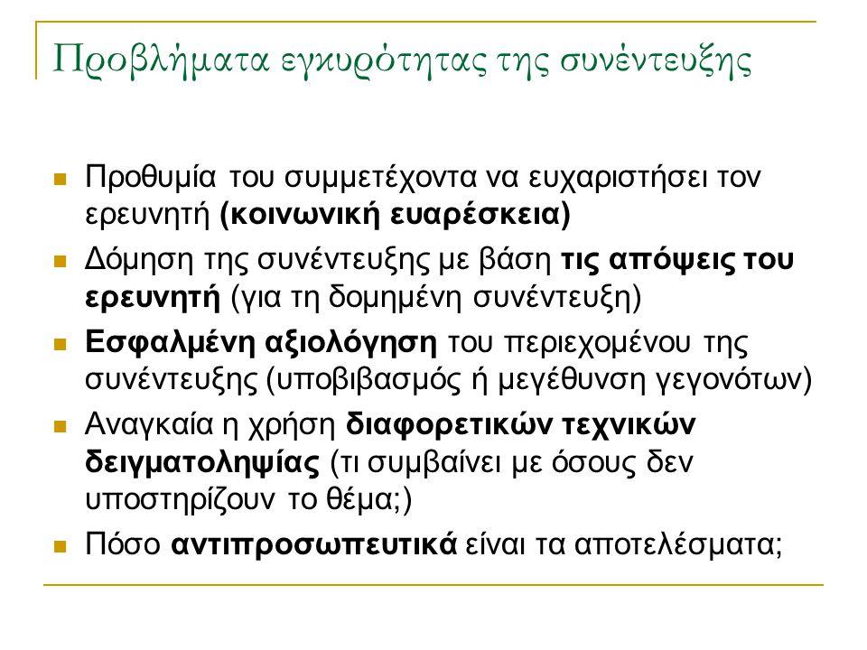Προβλήματα εγκυρότητας της συνέντευξης Προθυμία του συμμετέχοντα να ευχαριστήσει τον ερευνητή (κοινωνική ευαρέσκεια) Δόμηση της συνέντευξης με βάση τι
