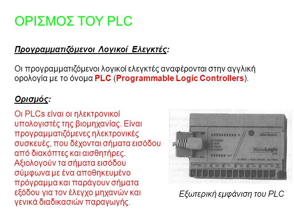 ΟΡΙΣΜΟΣ ΤΟΥ PLC Προγραμματιζόμενοι Λογικοί Ελεγκτές: Οι προγραμματιζόμενοι λογικοί ελεγκτές αναφέρονται στην αγγλική ορολογία με το όνομα PLC (Program