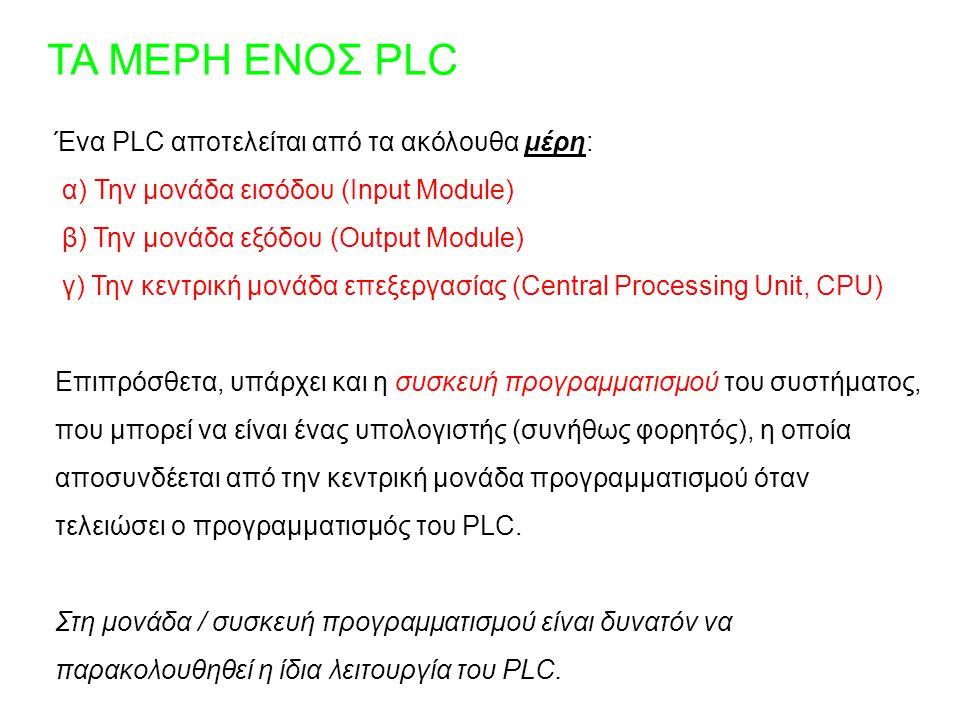 ΤΑ ΜΕΡΗ ΕΝΟΣ PLC Ένα PLC αποτελείται από τα ακόλουθα μέρη: α) Την μονάδα εισόδου (Input Module) β) Την μονάδα εξόδου (Output Module) γ) Την κεντρική μ