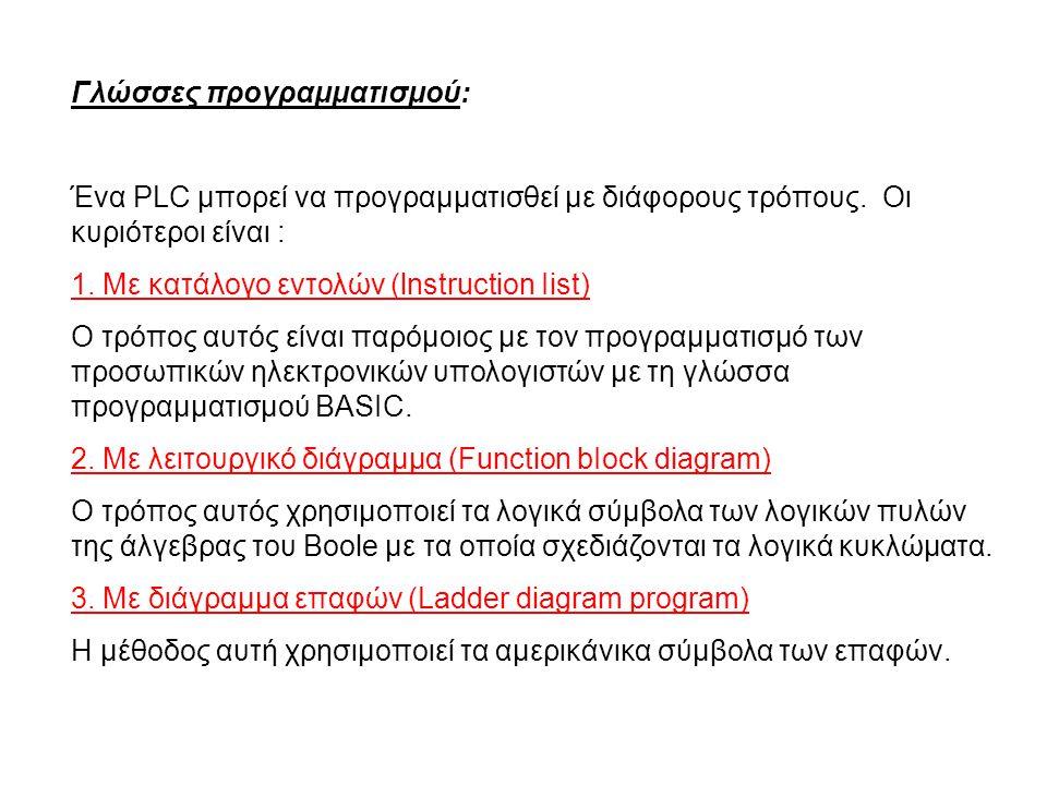 Γλώσσες προγραμματισμού: Ένα PLC μπορεί να προγραμματισθεί με διάφορους τρόπους. Οι κυριότεροι είναι : 1. Με κατάλογο εντολών (lnstruction Iist) Ο τρό