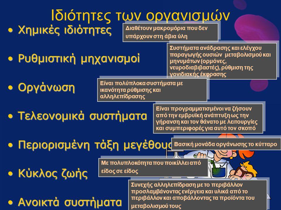 Ιδιότητες των οργανισμών Χημικές ιδιότητεςΧημικές ιδιότητες Ρυθμιστική μηχανισμοίΡυθμιστική μηχανισμοί ΟργάνωσηΟργάνωση Τελεονομικά συστήματαΤελεονομι