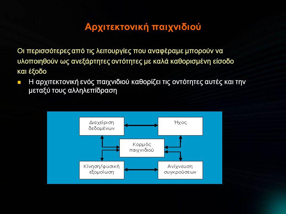 Αρχιτεκτονική παιχνιδιού Οι περισσότερες από τις λειτουργίες που αναφέραμε μπορούν να υλοποιηθούν ως ανεξάρτητες οντότητες με καλά καθορισμένη είσοδο και έξοδο Η αρχιτεκτονική ενός παιχνιδιού καθορίζει τις οντότητες αυτές και την μεταξύ τους αλληλεπίδραση