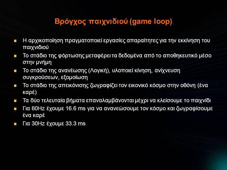 Βρόγχος παιχνιδιού (game loop) Η αρχικοποίηση πραγματοποιεί εργασίες απαραίτητες για την εκκίνηση του παιχνιδιού Το στάδιο της φόρτωσης μεταφέρει τα δεδομένα από το αποθηκευτικό μέσο στην μνήμη Το στάδιο της ανανέωσης (Λογική), υλοποιεί κίνηση, ανίχνευση συγκρούσεων, εξομοίωση Το στάδιο της απεικόνισης ζωγραφίζει τον εικονικό κόσμο στην οθόνη (ένα καρέ) Τα δύο τελευταία βήματα επαναλαμβάνονται μέχρι να κλείσουμε το παιχνίδι Για 60Ηz έχουμε 16.6 ms για να ανανεώσουμε τον κόσμο και ζωγραφίσουμε ένα καρέ Για 30Hz έχουμε 33.3 ms