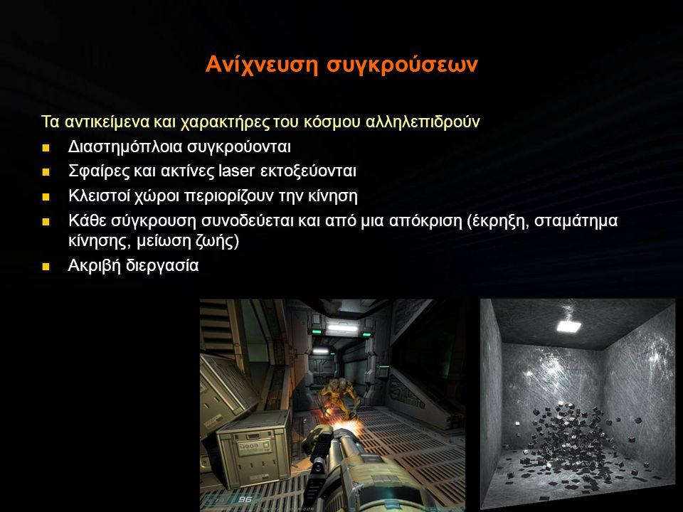 Καθορισμός ορατότητας Σε ένα εικονικό κόσμο ο χρήστης έχει περιορισμένο οπτικό πεδίο Δεν φαίνεται κάθε στιγμή όλο το background, χαρακτήρες και αντικείμενα Καθορισμός του τι είναι ορατό μπορεί να επιταχύνει δραματικά το παιχνίδι (λογική και απεικόνιση)