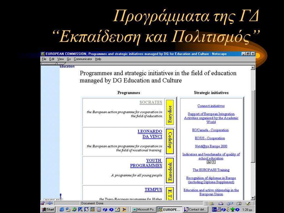 Προγράμματα της ΓΔ Εκπαίδευση και Πολιτισμός