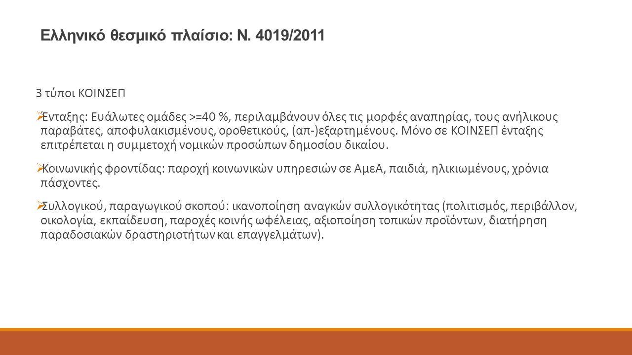 Ελληνικό θεσμικό πλαίσιο: Ν. 4019/2011 3 τύποι ΚΟΙΝΣΕΠ  Ένταξης: Ευάλωτες ομάδες >=40 %, περιλαμβάνουν όλες τις μορφές αναπηρίας, τους ανήλικους παρα