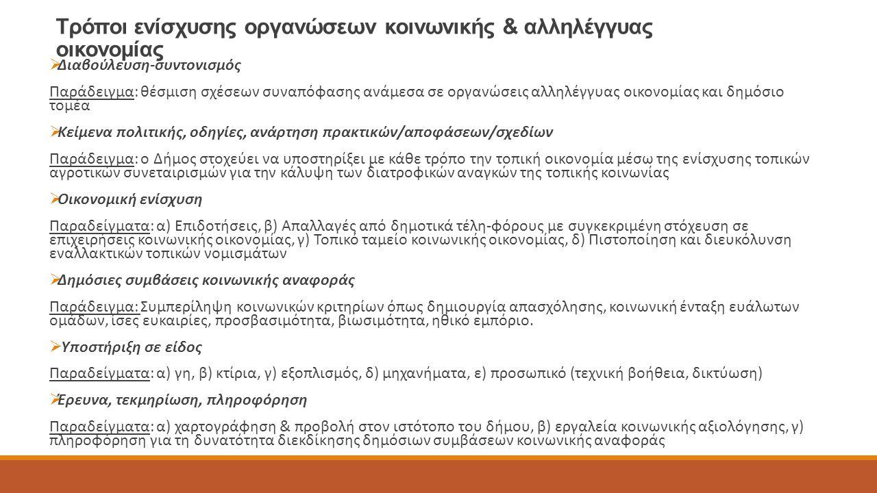 Τρόποι ενίσχυσης οργανώσεων κοινωνικής & αλληλέγγυας οικονομίας  Διαβούλευση-συντονισμός Παράδειγμα: θέσμιση σχέσεων συναπόφασης ανάμεσα σε οργανώσει