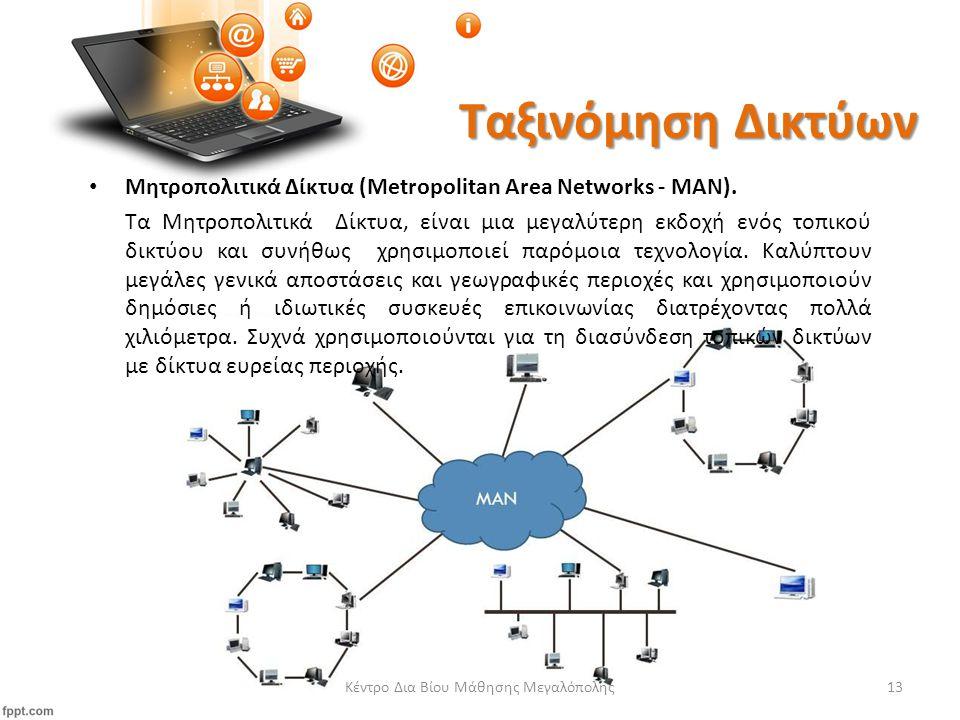Ταξινόμηση Δικτύων Μητροπολιτικά Δίκτυα (Metropolitan Area Networks - ΜΑΝ).