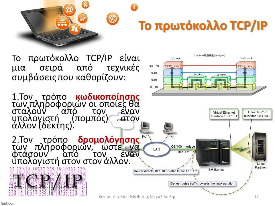 Το πρωτόκολλο TCP/IP Το πρωτόκολλο TCP/IP είναι μια σειρά από τεχνικές συμβάσεις που καθορίζουν: 1.Τον τρόπο κωδικοποίησης των πληροφοριών οι οποίες θα σταλούν από τον έναν υπολογιστή (πομπός) στον άλλον (δέκτης).