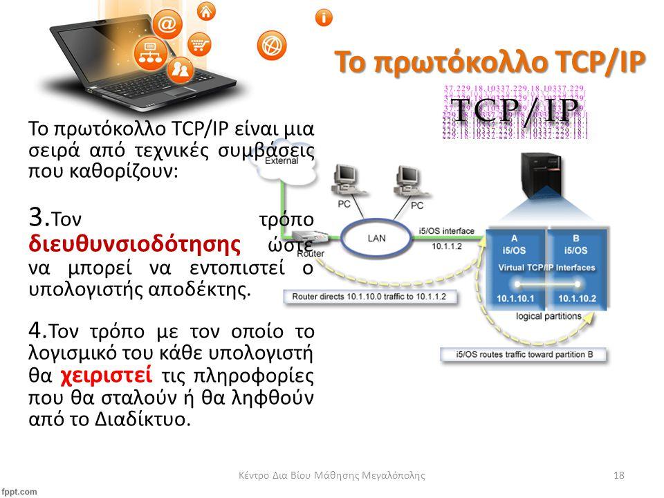 Το πρωτόκολλο TCP/IP Το πρωτόκολλο TCP/IP είναι μια σειρά από τεχνικές συμβάσεις που καθορίζουν: 3.