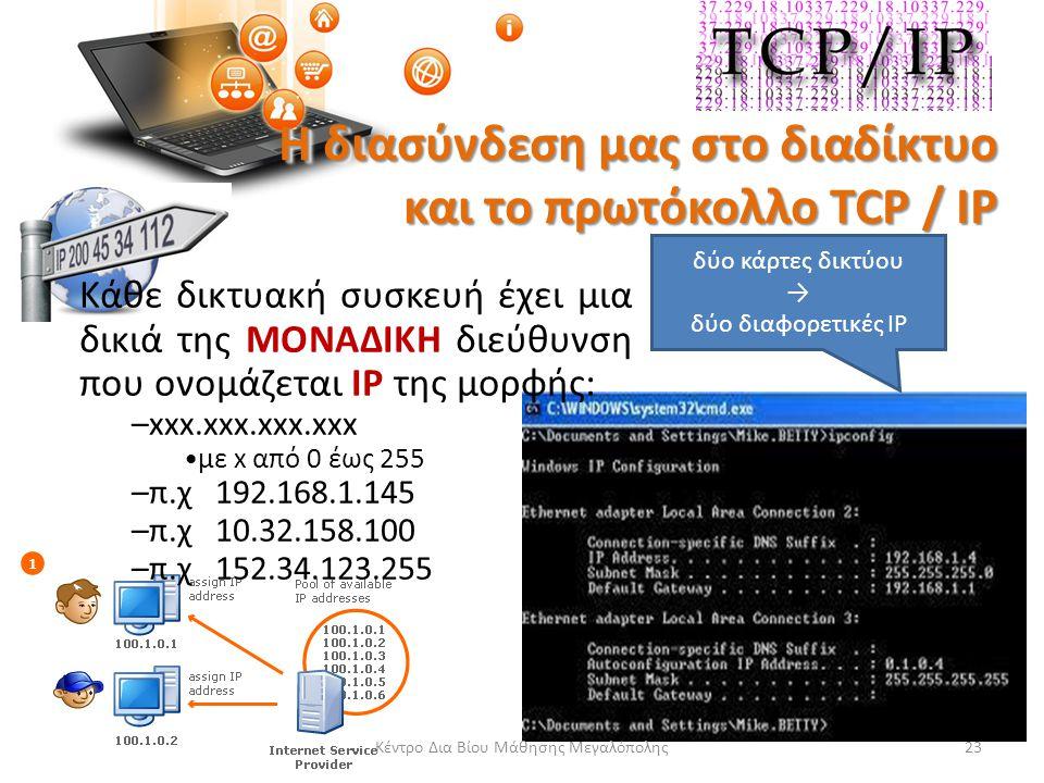 Η διασύνδεση μας στο διαδίκτυο και το πρωτόκολλο TCP / IP Κάθε δικτυακή συσκευή έχει μια δικιά της ΜΟΝΑΔΙΚΗ διεύθυνση που ονομάζεται IP της μορφής: –xxx.xxx.xxx.xxx με x από 0 έως 255 –π.χ 192.168.1.145 –π.χ 10.32.158.100 –π.χ 152.34.123.255 Κέντρο Δια Βίου Μάθησης Μεγαλόπολης23 δύο κάρτες δικτύου → δύο διαφορετικές IP