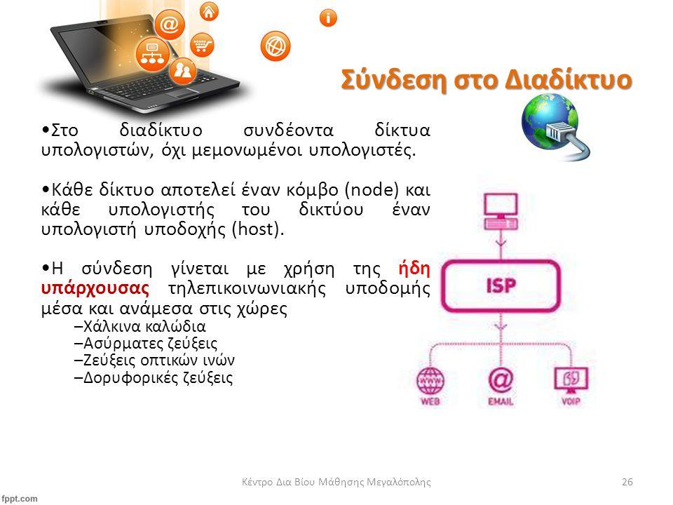 Σύνδεση στο ∆ιαδίκτυο Κέντρο Δια Βίου Μάθησης Μεγαλόπολης26 Στο διαδίκτυο συνδέοντα δίκτυα υπολογιστών, όχι μεμονωμένοι υπολογιστές.