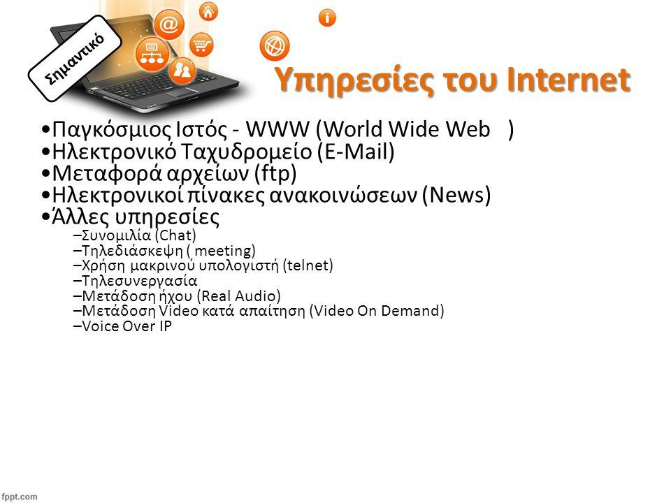 Υπηρεσίες του Internet Παγκόσμιος Ιστός - WWW (World Wide Web ) Ηλεκτρονικό Ταχυδρομείο (E-Μail) Μεταφορά αρχείων (ftp) Ηλεκτρονικοί πίνακες ανακοινώσεων (News) Άλλες υπηρεσίες –Συνομιλία (Chat) –Τηλεδιάσκεψη ( meeting) –Χρήση μακρινού υπολογιστή (telnet) –Tηλεσυνεργασία –Μετάδοση ήχου (Real Audio) –Μετάδοση Video κατά απαίτηση (Video On Demand) –Voice Over IP Σημαντικό