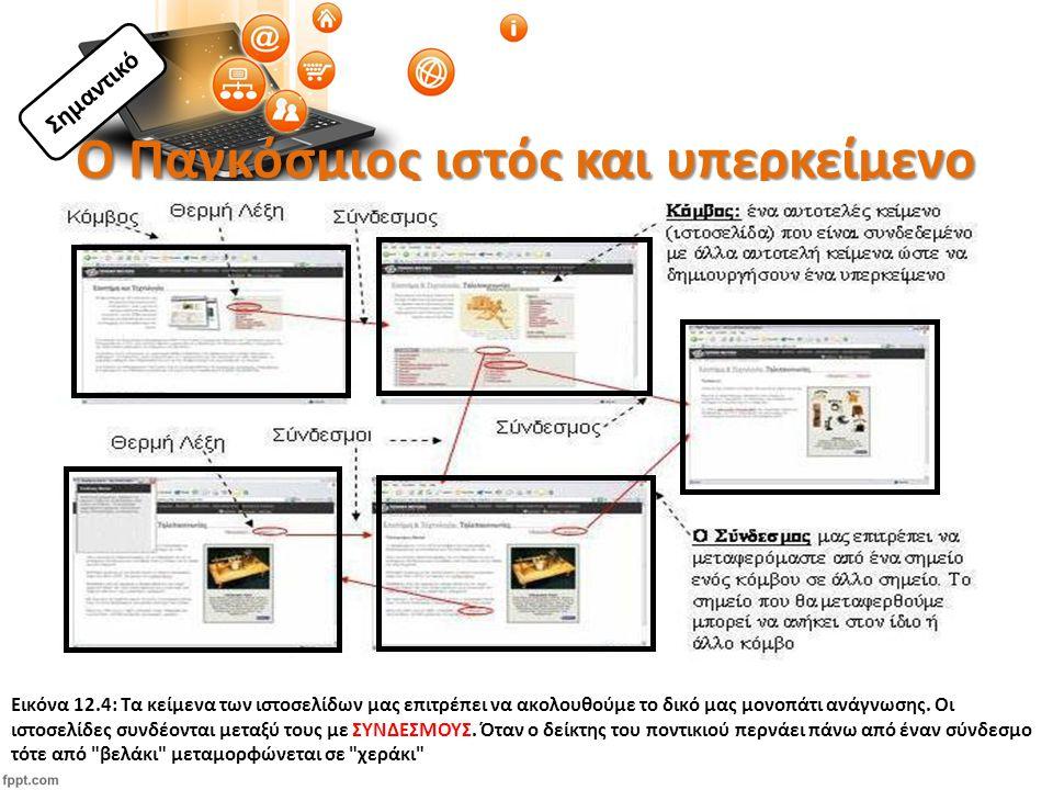 Ο Παγκόσμιος ιστός και υπερκείμενο Εικόνα 12.4: Τα κείμενα των ιστοσελίδων μας επιτρέπει να ακολουθούμε το δικό μας μονοπάτι ανάγνωσης.