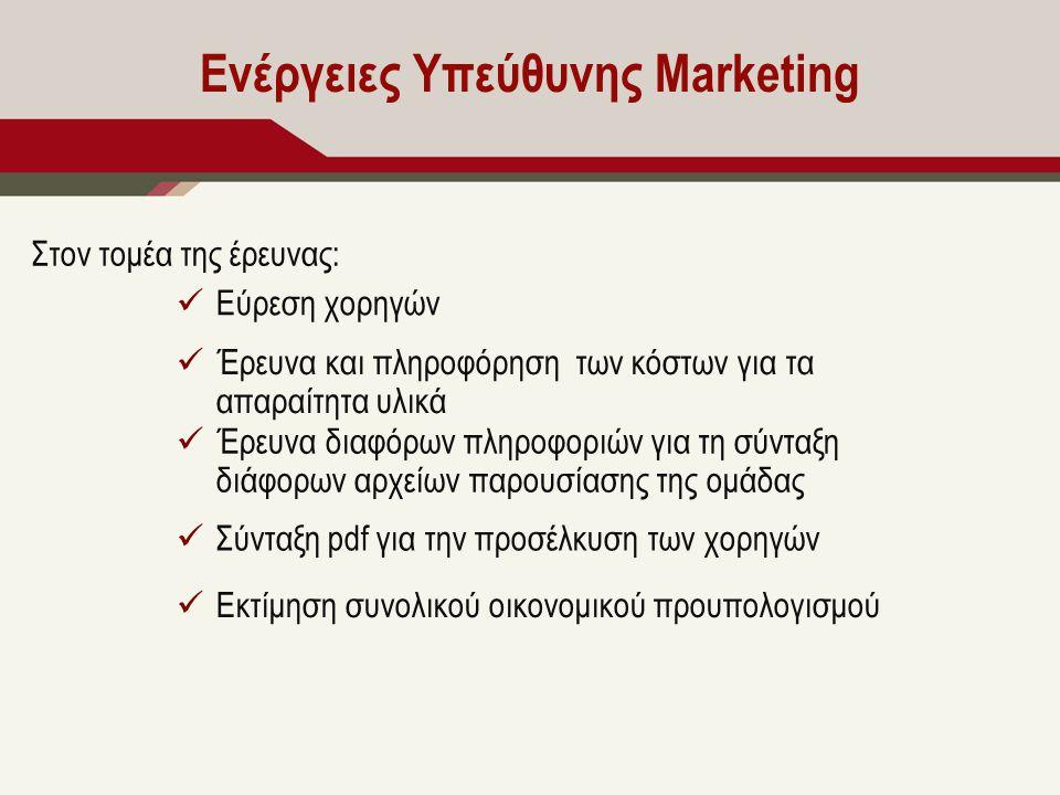 Ενέργειες Υπεύθυνης Marketing Στον τομέα της έρευνας: Εύρεση χορηγών Έρευνα και πληροφόρηση των κόστων για τα απαραίτητα υλικά Έρευνα διαφόρων πληροφοριών για τη σύνταξη διάφορων αρχείων παρουσίασης της ομάδας Σύνταξη pdf για την προσέλκυση των χορηγών Εκτίμηση συνολικού οικονομικού προυπολογισμού