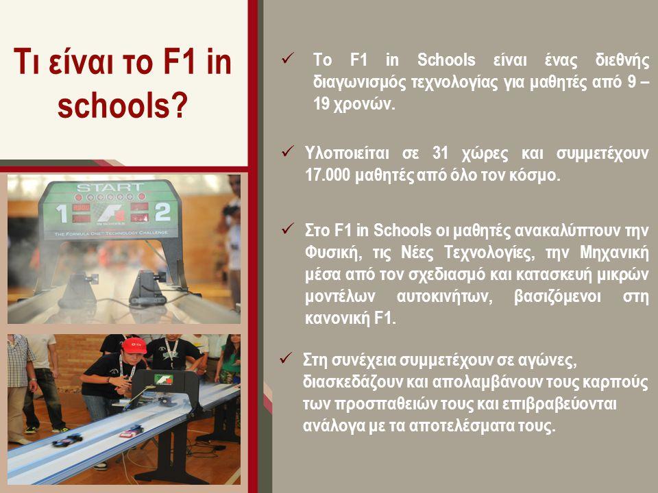 Τι είναι το F1 in schools? Το F1 in Schools είναι ένας διεθνής διαγωνισμός τεχνολογίας για μαθητές από 9 – 19 χρονών. Υλοποιείται σε 31 χώρες και συμμ