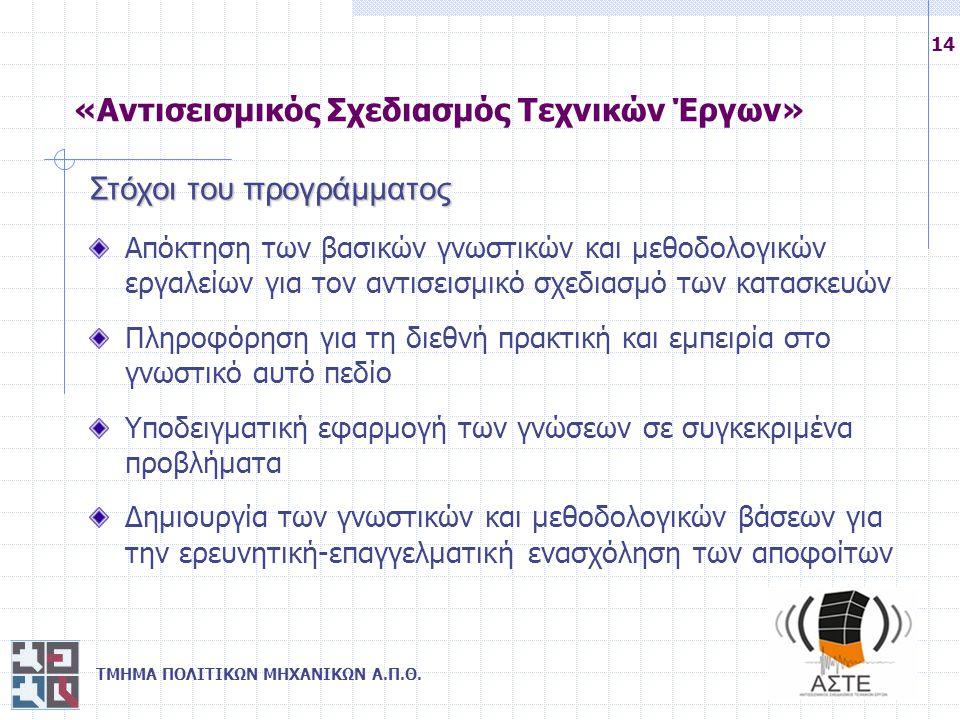 ΤΜΗΜΑ ΠΟΛΙΤΙΚΩΝ ΜΗΧΑΝΙΚΩΝ Α.Π.Θ. 14 Στόχοι του προγράμματος Απόκτηση των βασικών γνωστικών και μεθοδολογικών εργαλείων για τον αντισεισμικό σχεδιασμό