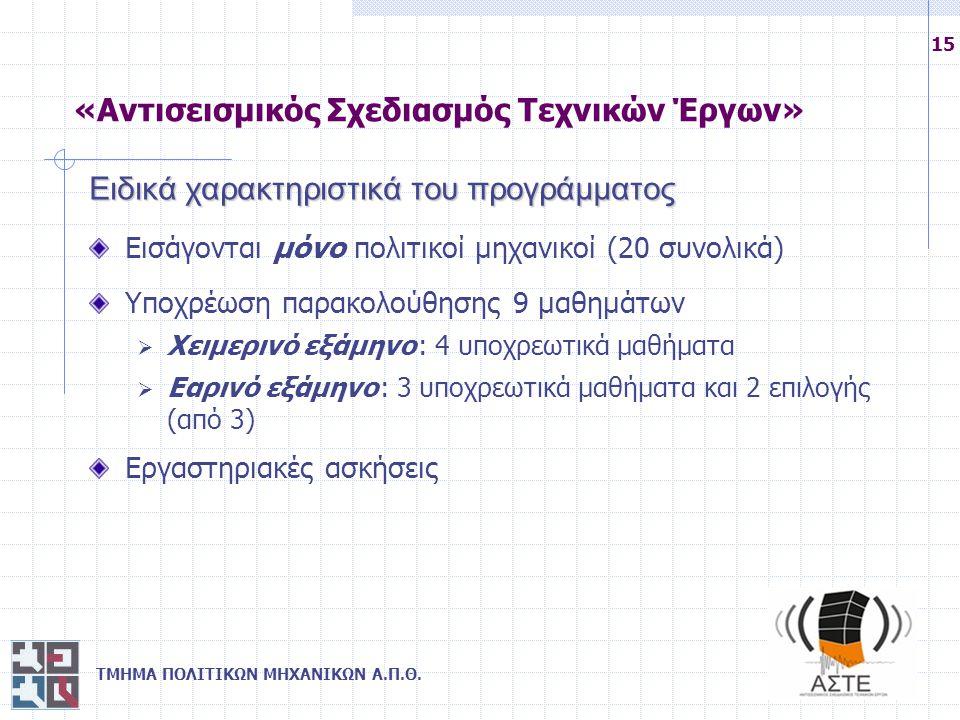 ΤΜΗΜΑ ΠΟΛΙΤΙΚΩΝ ΜΗΧΑΝΙΚΩΝ Α.Π.Θ. 15 Ειδικά χαρακτηριστικά του προγράμματος Εισάγονται μόνο πολιτικοί μηχανικοί (20 συνολικά) Υποχρέωση παρακολούθησης