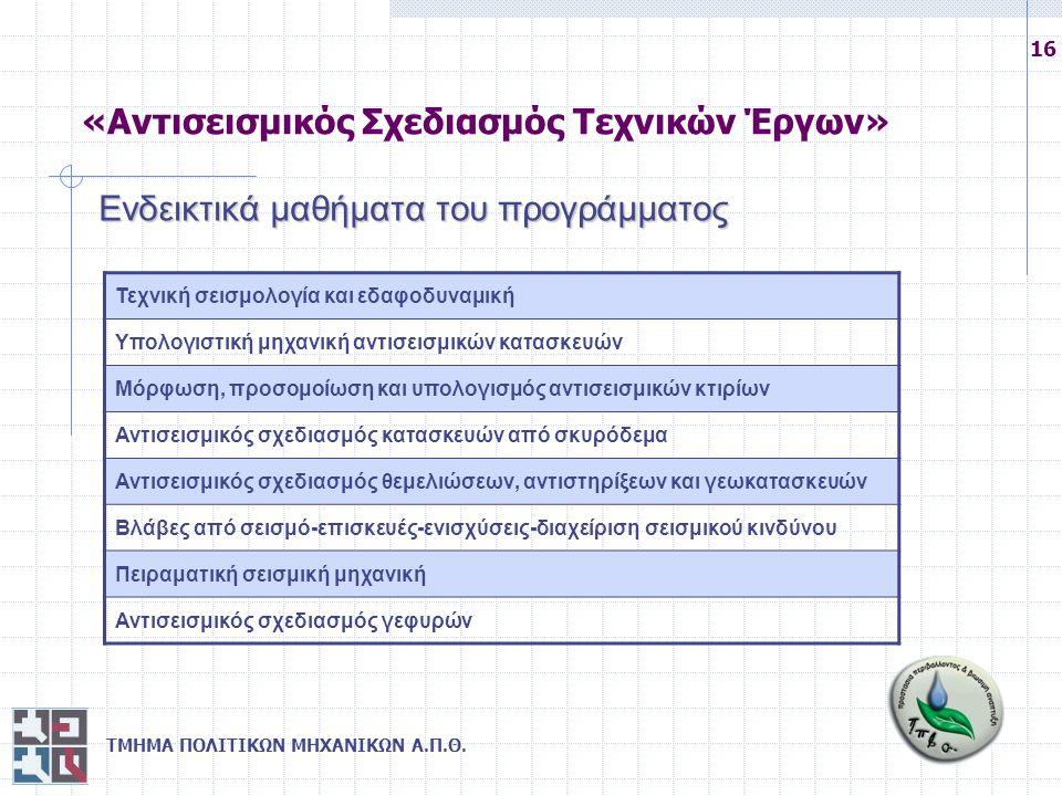 ΤΜΗΜΑ ΠΟΛΙΤΙΚΩΝ ΜΗΧΑΝΙΚΩΝ Α.Π.Θ. 16 Ενδεικτικά μαθήματα του προγράμματος Τεχνική σεισμολογία και εδαφοδυναμική Υπολογιστική μηχανική αντισεισμικών κατ