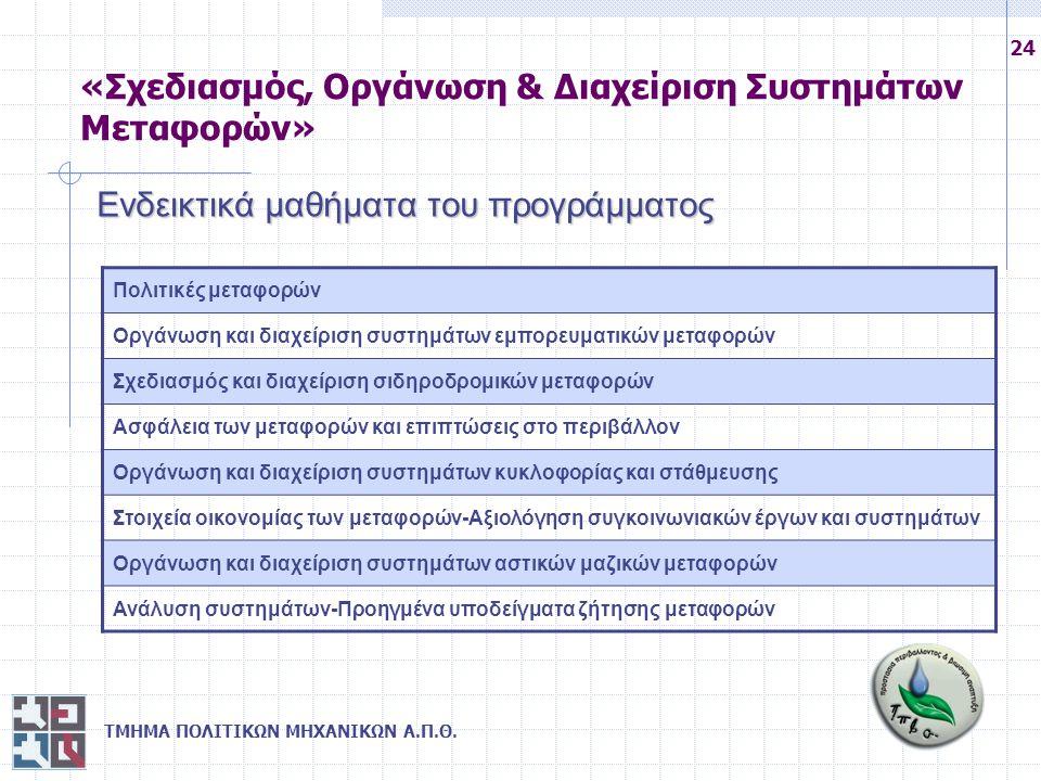ΤΜΗΜΑ ΠΟΛΙΤΙΚΩΝ ΜΗΧΑΝΙΚΩΝ Α.Π.Θ. 24 Ενδεικτικά μαθήματα του προγράμματος Πολιτικές μεταφορών Οργάνωση και διαχείριση συστημάτων εμπορευματικών μεταφορ