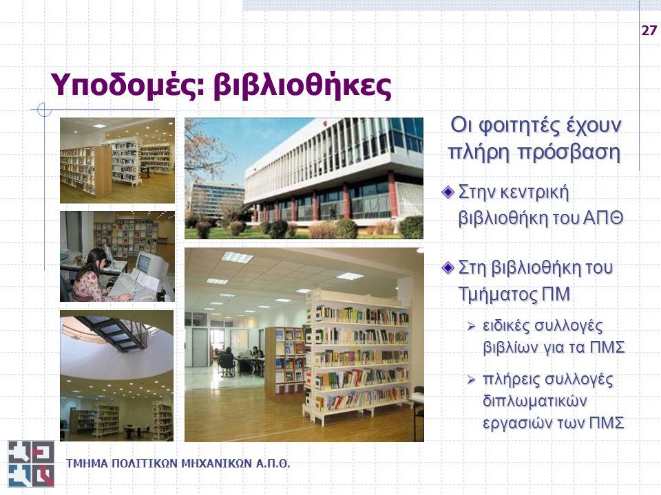ΤΜΗΜΑ ΠΟΛΙΤΙΚΩΝ ΜΗΧΑΝΙΚΩΝ Α.Π.Θ. 27 Υποδομές: βιβλιοθήκες Στην κεντρική βιβλιοθήκη του ΑΠΘ Στη βιβλιοθήκη του Τμήματος ΠΜ  ειδικές συλλογές βιβλίων γ
