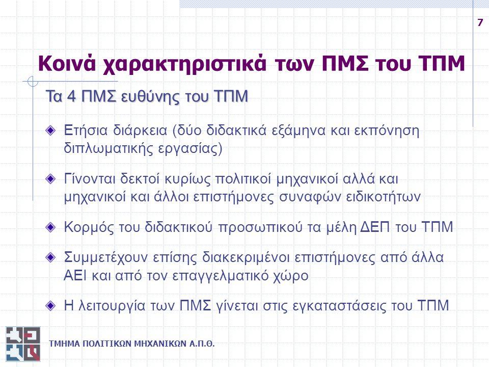 ΤΜΗΜΑ ΠΟΛΙΤΙΚΩΝ ΜΗΧΑΝΙΚΩΝ Α.Π.Θ. 7 Κοινά χαρακτηριστικά των ΠΜΣ του ΤΠΜ Τα 4 ΠΜΣ ευθύνης του ΤΠΜ Ετήσια διάρκεια (δύο διδακτικά εξάμηνα και εκπόνηση δ