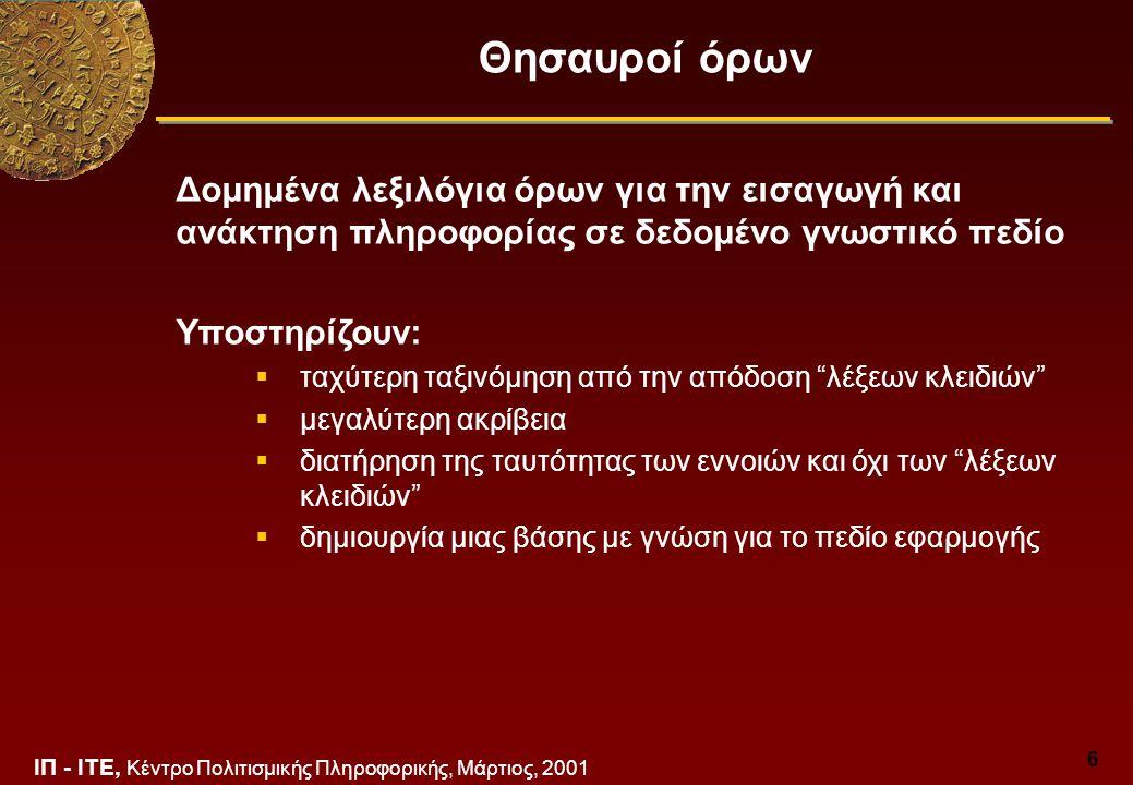 ΙΠ - ΙΤΕ, Κέντρο Πολιτισμικής Πληροφορικής, Μάρτιος, 2001 6 Θησαυροί όρων Δομημένα λεξιλόγια όρων για την εισαγωγή και ανάκτηση πληροφορίας σε δεδομένο γνωστικό πεδίο Υποστηρίζουν:  ταχύτερη ταξινόμηση από την απόδοση λέξεων κλειδιών  μεγαλύτερη ακρίβεια  διατήρηση της ταυτότητας των εννοιών και όχι των λέξεων κλειδιών  δημιουργία μιας βάσης με γνώση για το πεδίο εφαρμογής