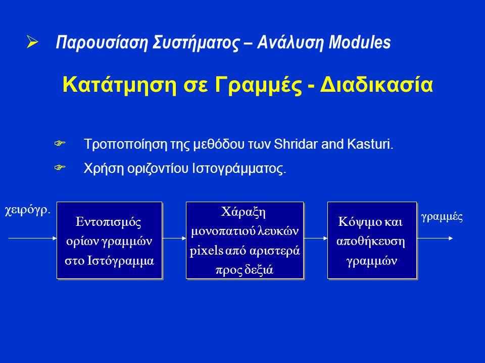 Κατάτμηση σε Γραμμές - Διαδικασία  Τροποποίηση της μεθόδου των Shridar and Kasturi.  Χρήση οριζοντίου Ιστογράμματος. Εντοπισμός ορίων γραμμών στο Ισ