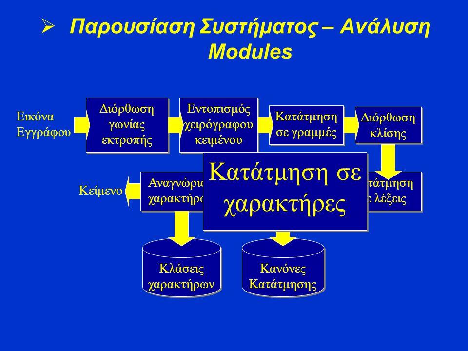 Διόρθωση γωνίας εκτροπής Εντοπισμός χειρόγραφου κειμένου Κατάτμηση σε γραμμές Διόρθωση κλίσης Κατάτμηση σε λέξεις Κατάτμηση σε χαρακτήρες Αναγνώριση χ