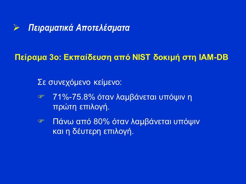 Πείραμα 3o: Εκπαίδευση από NIST δοκιμή στη IAM-DB  Πειραματικά Αποτελέσματα Σε συνεχόμενο κείμενο:  71%-75.8% όταν λαμβάνεται υπόψιν η πρώτη επιλογή