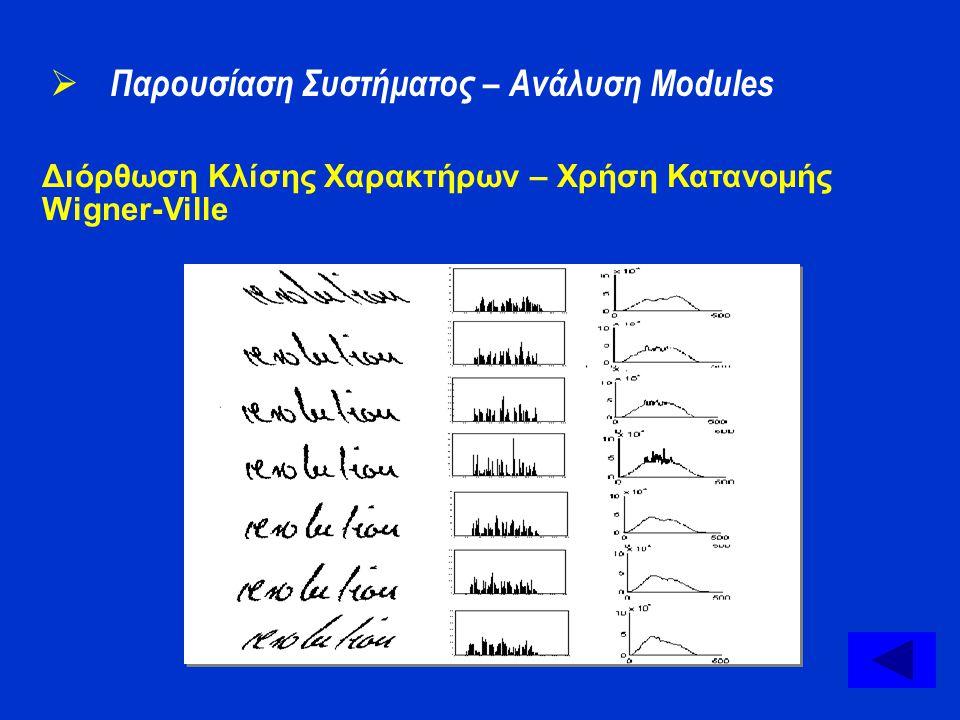 Διόρθωση Κλίσης Χαρακτήρων – Χρήση Κατανομής Wigner-Ville  Παρουσίαση Συστήματος – Ανάλυση Modules