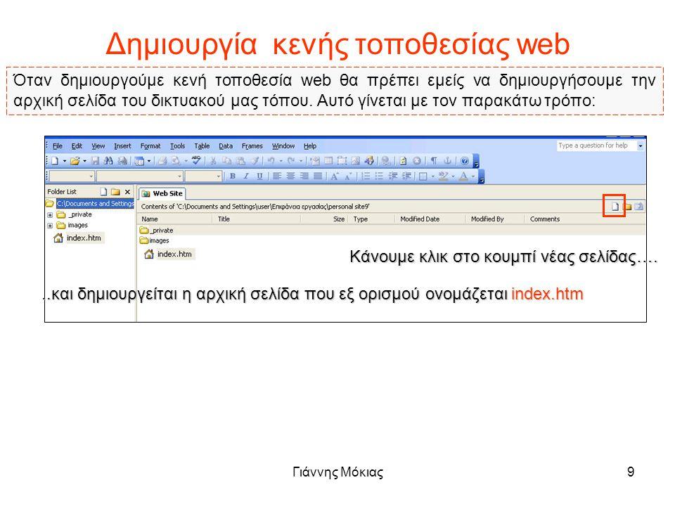 Γιάννης Μόκιας9 Δημιουργία κενής τοποθεσίας web Όταν δημιουργούμε κενή τοποθεσία web θα πρέπει εμείς να δημιουργήσουμε την αρχική σελίδα του δικτυακού μας τόπου.