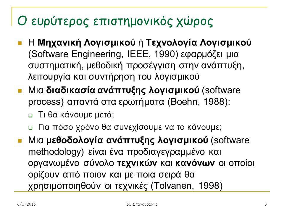 Ο ευρύτερος επιστημονικός χώρος Η Μηχανική Λογισμικού ή Τεχνολογία Λογισμικού (Software Engineering, IEEE, 1990) εφαρμόζει μια συστηματική, μεθοδική προσέγγιση στην ανάπτυξη, λειτουργία και συντήρηση του λογισμικού Μια διαδικασία ανάπτυξης λογισμικού (software process) απαντά στα ερωτήματα (Boehn, 1988):  Τι θα κάνουμε μετά;  Για πόσο χρόνο θα συνεχίσουμε να το κάνουμε; Μια μεθοδολογία ανάπτυξης λογισμικού (software methodology) είναι ένα προδιαγεγραμμένο και οργανωμένο σύνολο τεχνικών και κανόνων οι οποίοι ορίζουν από ποιον και με ποια σειρά θα χρησιμοποιηθούν οι τεχνικές (Tolvanen, 1998) 6/1/20153 Ν.