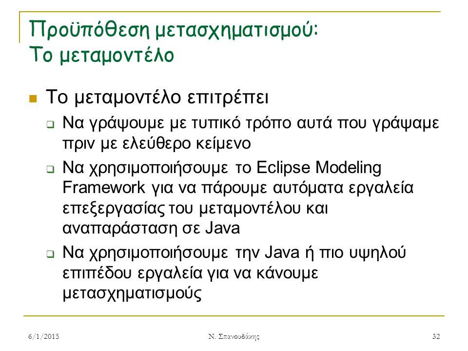Προϋπόθεση μετασχηματισμού: Το μεταμοντέλο Το μεταμοντέλο επιτρέπει  Να γράψουμε με τυπικό τρόπο αυτά που γράψαμε πριν με ελεύθερο κείμενο  Να χρησιμοποιήσουμε το Eclipse Modeling Framework για να πάρουμε αυτόματα εργαλεία επεξεργασίας του μεταμοντέλου και αναπαράσταση σε Java  Να χρησιμοποιήσουμε την Java ή πιο υψηλού επιπέδου εργαλεία για να κάνουμε μετασχηματισμούς 6/1/2015 Ν.