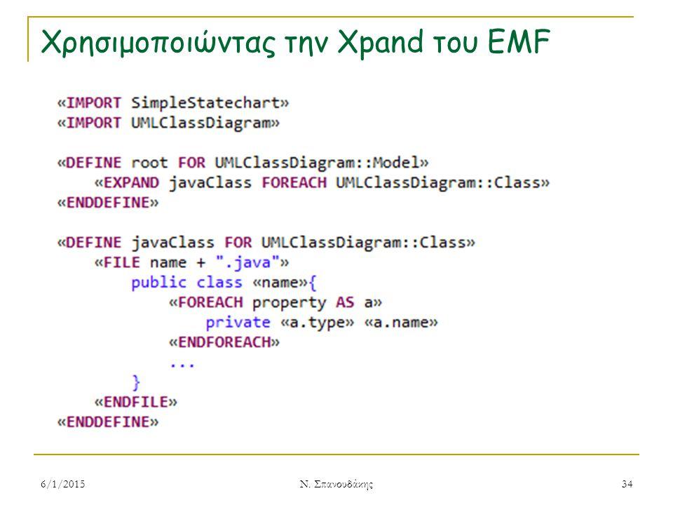 Χρησιμοποιώντας την Xpand του EMF 6/1/2015 Ν. Σπανουδάκης 34