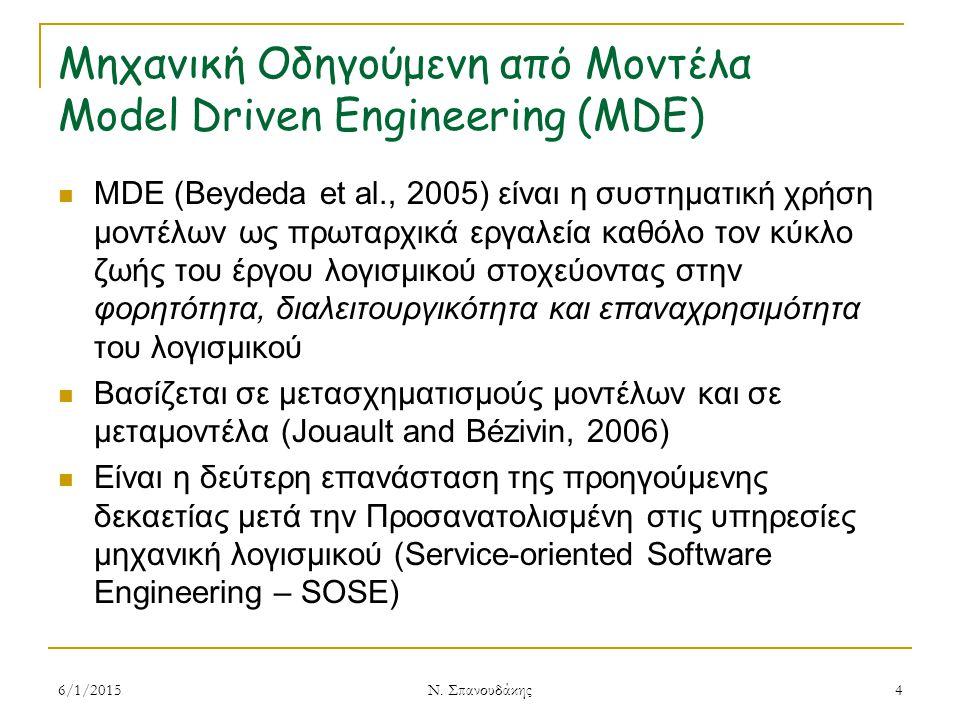 Μηχανική Οδηγούμενη από Μοντέλα Model Driven Engineering (MDE) MDE (Beydeda et al., 2005) είναι η συστηματική χρήση μοντέλων ως πρωταρχικά εργαλεία καθόλο τον κύκλο ζωής του έργου λογισμικού στοχεύοντας στην φορητότητα, διαλειτουργικότητα και επαναχρησιμότητα του λογισμικού Βασίζεται σε μετασχηματισμούς μοντέλων και σε μεταμοντέλα (Jouault and Bézivin, 2006) Είναι η δεύτερη επανάσταση της προηγούμενης δεκαετίας μετά την Προσανατολισμένη στις υπηρεσίες μηχανική λογισμικού (Service-oriented Software Engineering – SOSE) 6/1/20154 Ν.