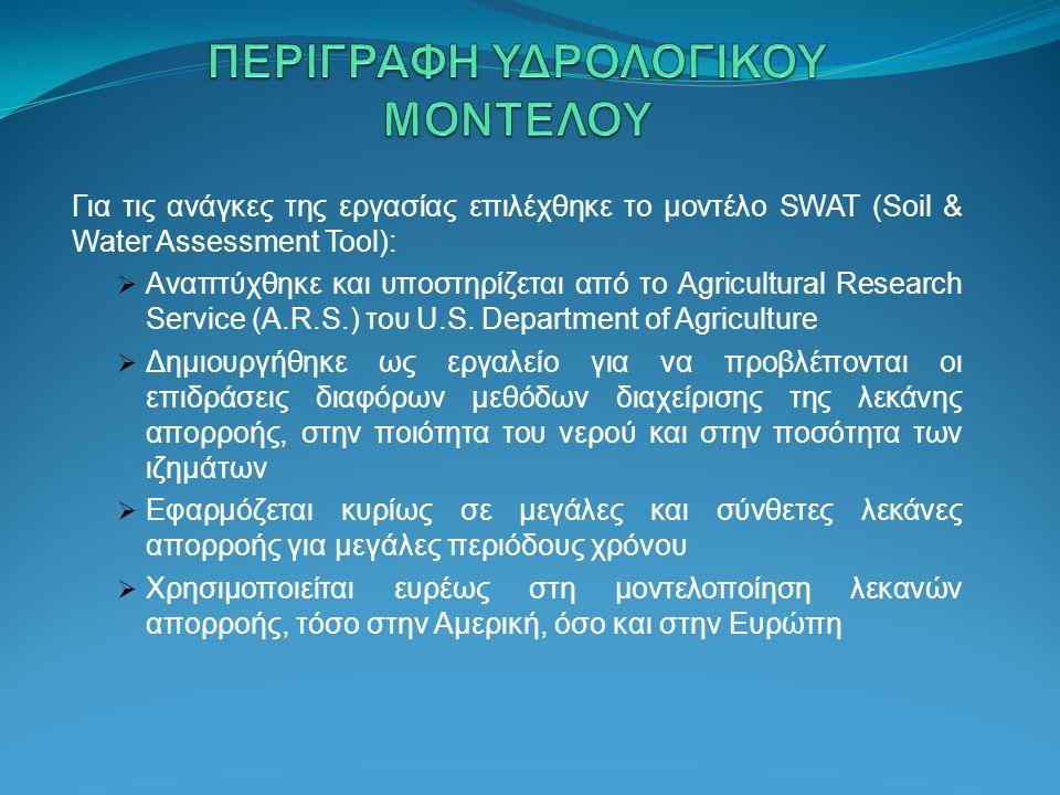 Για τις ανάγκες της εργασίας επιλέχθηκε το μοντέλο SWAT (Soil & Water Assessment Tool):  Αναπτύχθηκε και υποστηρίζεται από το Agricultural Research S