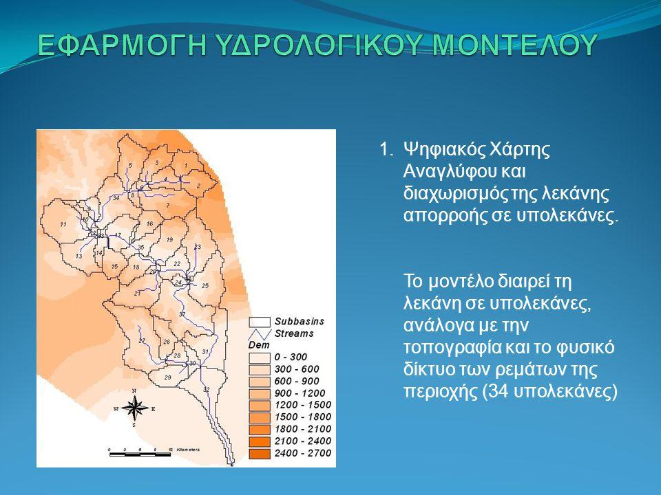 1.Ψηφιακός Χάρτης Αναγλύφου και διαχωρισμόςτης λεκάνης απορροής σε υπολεκάνες. Το μοντέλο διαιρεί τη λεκάνη σε υπολεκάνες, ανάλογα με την τοπογραφία κ