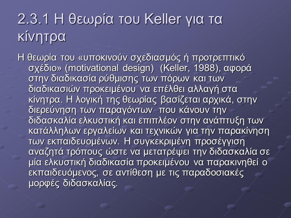 2.3.1 Η θεωρία του Keller για τα κίνητρα Η θεωρία του «υποκινούν σχεδιασμός ή προτρεπτικό σχέδιο» (motivational design) (Keller, 1988), αφορά στην διαδικασία ρύθμισης των πόρων και των διαδικασιών προκειμένου να επέλθει αλλαγή στα κίνητρα.