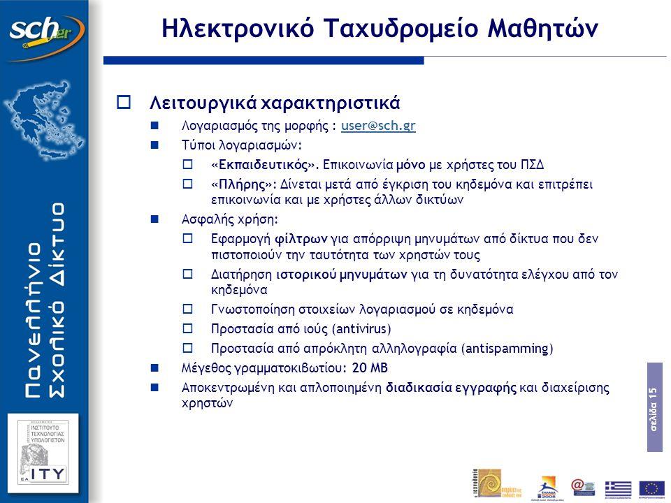 σελίδα 15  Λειτουργικά χαρακτηριστικά Λογαριασμός της μορφής : user@sch.gruser@sch.gr Τύποι λογαριασμών:  «Εκπαιδευτικός».